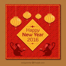 lunar new year photo cards new year card in golden and color vector free