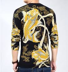 fish sweater lucky golden koi fish japanese inspired sleeve sweater