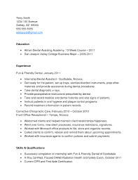 insurance resume objective cover letter resume sample for dental assistant resume objective cover letter resume template dental resume objective s rep experience certified assistant examples job description for