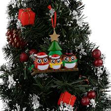 owl family of 3 polyresin glossy personalized ornaments