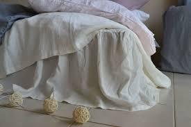 antique white stonewashed linen bed skirt dust ruffle valance