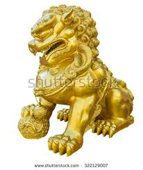 gold lion statue gold lion statue on white background stock photo 322129007