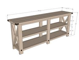 console tables console buffet table ana white rustic x diy