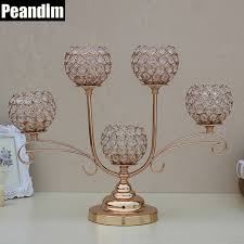 Gold Table Decorations Peandim Vintage Pillar K9 Crystal Candle Holder Votive New Year