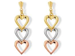andralok earrings 9ct three colour gold heart andralok earrings 25mm drop