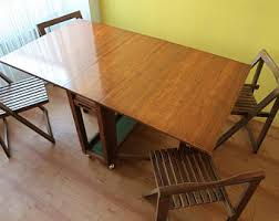 Drop Leaf Dining Table With Folding Chairs Danish Folding Chair Etsy