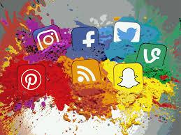 social media icons color splash montage landscape flickr