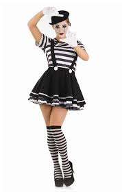 mime artist fancy dress costume black white street circus
