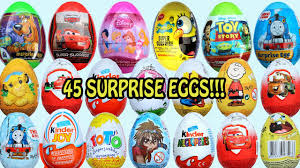 45 surprise eggs disney toys kitty mickey mouse clubhouse