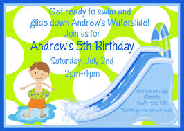5th birthday party invitation waterslide birthday invitation waterslide birthday party