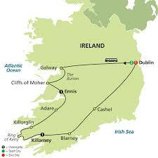 Dublin Ireland Map A Taste Of Ireland 6 Day Tour From Dublin To Dublin An Ideal