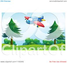cartoon of a cute airplane and rainbow over a park royalty free