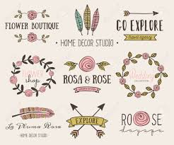 a set of hand drawn vintage style design elements modern and