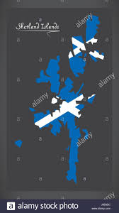 Scottish County Flags Shetland Islands Map With Scottish National Flag Illustration