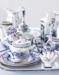 white china 54 blue porcelain dinnerware tea cup set cup saucer spoon coffee
