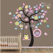 Owl Nursery Decor Owl On Swing Birds Flowers Tree Wall Decor Decals Nursery