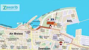 Beirut On Map 21 1 Km Map Arabic Version Animated Map Blom Bank Beirut