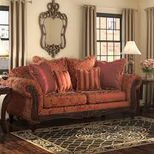 Sofa Pillows by Living Room Brown Hardwood Frame Material Beautiful Red Solid