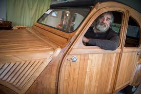 this frenchman just made a working citroën 2cv out of wood the local