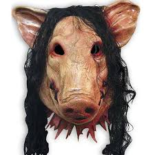 horror halloween mask saw 3 pig mask with black hair adults full