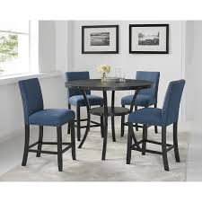 biony espresso wood counter height dining set with fabric nailhead