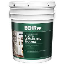behr 5 gal white alkyd semi gloss enamel interior exterior paint