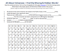 image of volcanoes worksheet free downloadable geography for
