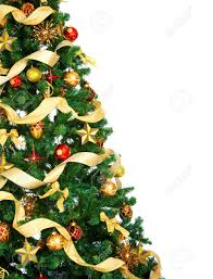 christmas tree and decorations over white background stock photo
