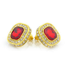 gold erring ruby gem gold earring goldiberg