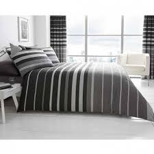 black and grey block stripe king duvet set poundstretcher