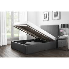 safina double ottoman bed in charcoal grey fabric furniture123