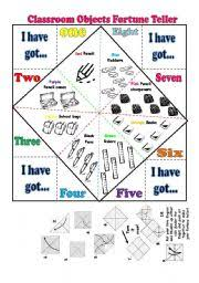 classroom objects fortune teller verb have got verb to be