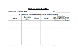 sample visitor sign in sheet 7 documents in word pdf