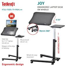 Laptop Desk Wheels by Amazon Com Tatkraft Joy Portable Adjustable Folding Laptop Stand