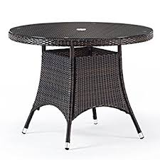 round glass outdoor table round rattan garden table with glass top 1 metre diameter