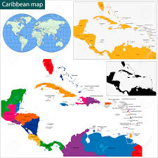 Map Caribbean by Colorful Caribbean Map With Countries And Capital Cities Royalty