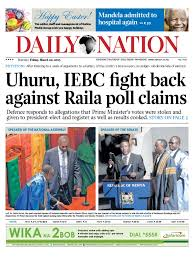 friday daily nation uhuru3 diploma elections