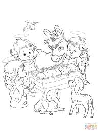 nativity scene with cute angels and animals coloring page free