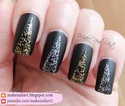 make nail art easy prom nails black matte with glitter nail art
