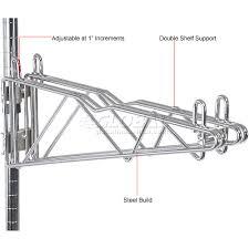 Wall Mount Wire Shelving Wire Shelving Wall Mount Shelving Adjustable Double Shelf