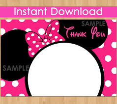 minnie mouse thank you cards minnie mouse thank you card instant hot pink minnie