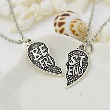puzzle heart pendant necklace images 2pc best friend puzzle heart pendant necklace friendship collier jpg