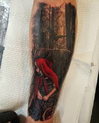 little red riding hood hiding in the woods best tattoo design ideas