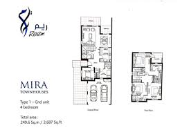 floor plans mira townhouses by emaar