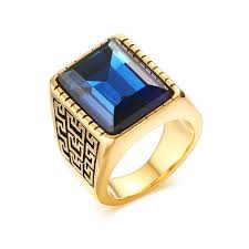 men s ring vnox men s ring gold color blue big rings for men