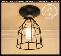 Edison Bulb Ceiling Light Industrial Cage Ceiling Light With Edison Bulb The L Goods