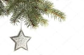 silver tree ornament hanging from a pine tree