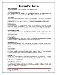 business overview template business plan overview and writing