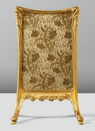 fougères u0027 a carved gilt wood and brocade upholstered fire screen
