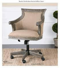 Accent Desk Chair Rustic Perfection Swivel Office Chair Beige Linen